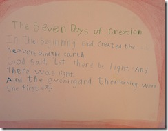 creation 1st day sentence 3rd grader