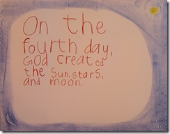 creation 4th day sentence 3rd grader