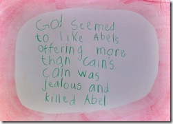 cain and abel sentence - 3rd grader