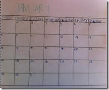 january calendar 3rd grader