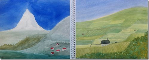 05 6th grader paintings alps french countryside
