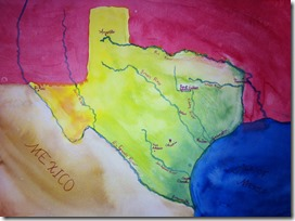 h 20 painted texas map